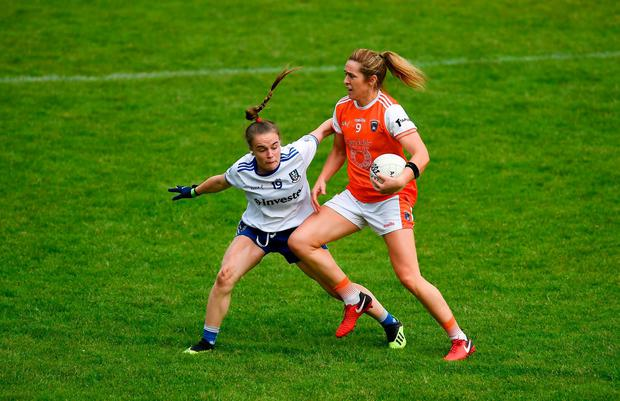 Caroline O'Hanlon of Armagh in action against Maeve Monaghan of Monaghan. Photo: David Fitzgerald/Sportsfile