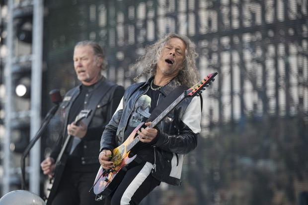 Honour to play gig: Metallica playing at their sold-out concert to 75,000 fans at Slane Castle, Co Meath, on Saturday. Photo: Arthur Carron