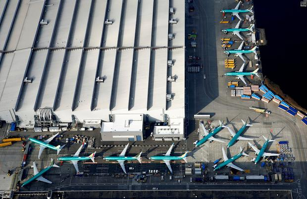 An aerial photo shows Boeing 737 MAX airplanes parked on the tarmac at the Boeing Factory in Renton, Washington. Photo: REUTERS/Lindsey Wasson