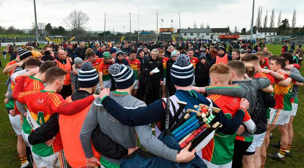 Colm Bonnar, here giving a teamtalk, believes his Carlow players would benefit from more top-tier championship competition. Photo: Matt Browne/Sportsfile