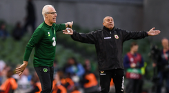 Republic of Ireland manager Mick McCarthy, left, and Gibraltar manager Julio César Ribas during the UEFA EURO2020 Qualifier Group D match between Republic of Ireland and Gibraltar at Aviva Stadium, Lansdowne Road in Dublin. Photo by Stephen McCarthy/Sportsfile