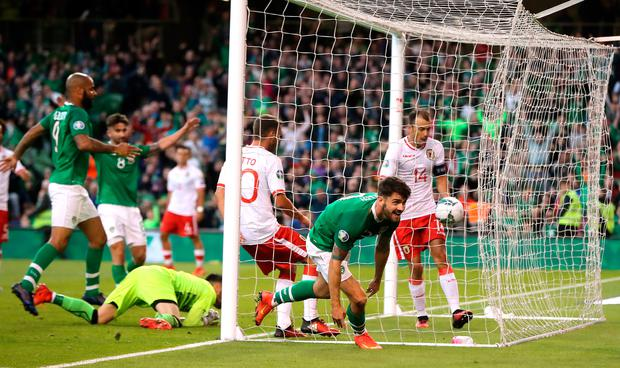 Ireland's Robbie Brady celebrates scoring his side's second goal of the game during the Euro 2020 Group D win over Gibraltar at the Aviva Stadium, Dublin