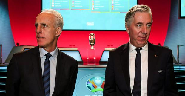 Details at risk: Ireland manager Mick McCarthy, and former FAI boss John Delaney. Photo: Stephen McCarthy/UEFA via Sportsfile