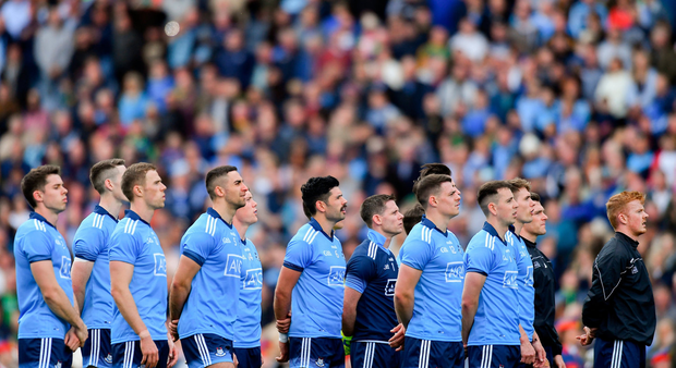 Standing tall: Dublin players, standing for the national anthem on Sunday, have set standards in Leinster that none of their rivals are likely to reach for several years to come. Photo: Piaras Ó Mídheach/Sportsfile