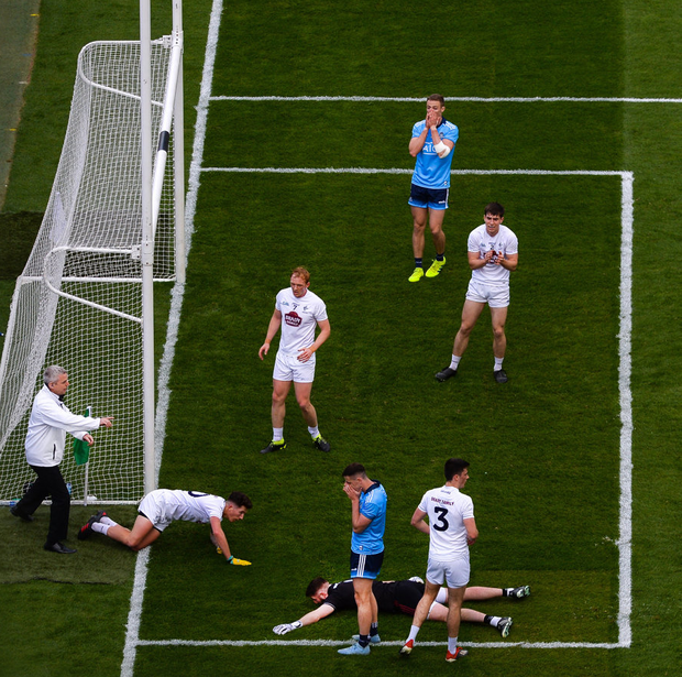 Missed opportunity: Paul Mannion (top) and Cormac Costello show their frustration after a goal chance goes a begging