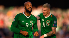 David McGoldrick, left, celebrates with team-mate James McClean after his shot was deflected in by Joseph Chipolina