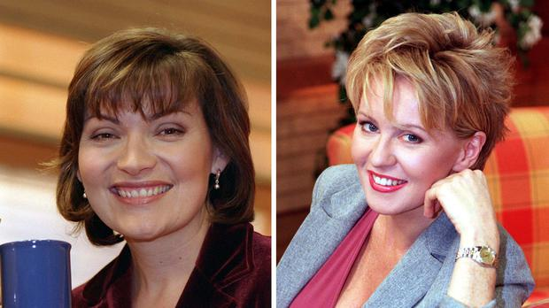 "File photos of (from the left) Lorraine Kelly and Esther McVey. Kelly has said she is ""baffled"" by McVey's claim that she was promoted above her at GMTV and added that she strongly disagrees with her politics on LGBT rights."