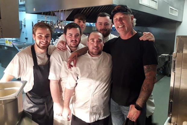 Surprise visit: Chefs James Vaughan and Daniel Alves (back) and Gary Davis, Cathal Malone and Cian Cagney (front) with Metallica star James Hetfield