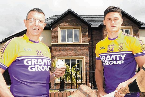 Bumper: Larry O'Gorman and Wexford hurling star Lee Chin at the launch of a bumper club fundraiser in aid of Chin's local club. Photo: Sasko Lazarov/Photocall Ireland