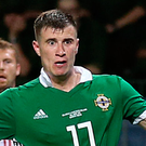 Northern Ireland's Paddy McNair scores the winning goal against Belarus. Photo: PA