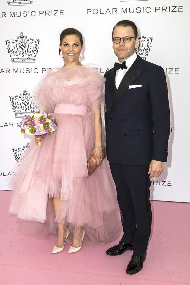 Crown Princess Victoria of Sweden and Prince Daniel of Sweden pose on the red carpet during the 2019 Polar Music Prize award ceremony on June 11, 2019 in Stockholm, Sweden. (Photo by Michael Campanella/Getty Images)