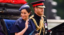 Meghan, Duchess of Sussex and Prince Harry, Duke of Sussex leave Buckingham Palace in a carriage during Trooping The Colour, the Queen's annual birthday parade, on June 8, 2019 in London, England. (Photo by James Devaney/Getty Images)