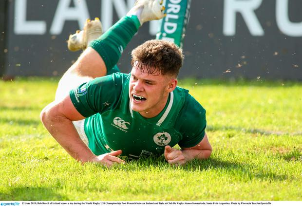 Rob Russell of Ireland scores a try during the World Rugby U20 Championship Pool B match between Ireland and Italy at Club De Rugby Ateneo Inmaculada, Santa Fe in Argentina. Photo by Florencia Tan Jun/Sportsfile