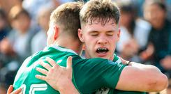 Rob Russell of Ireland celebrates after scoring a try with Jake Flannery of Ireland during the World Rugby U20 Championship Pool B match between Ireland and Italy at Club De Rugby Ateneo Inmaculada, Santa Fe in Argentina. Photo by Florencia Tan Jun/Sportsfile