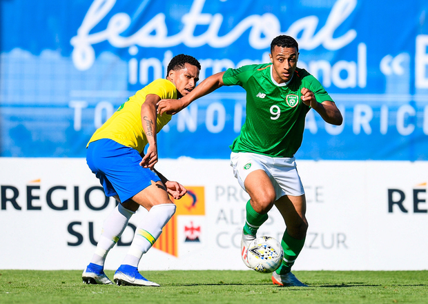 Adam Idah of Ireland in action against Murilo Cerqueira of Brazil. Photo by Alexandre Dimou/Sportsfile
