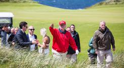 US President Donald Trump plays a round of golf at Trump International in Doonbeg, Co Clare. Photos: Mark Condren