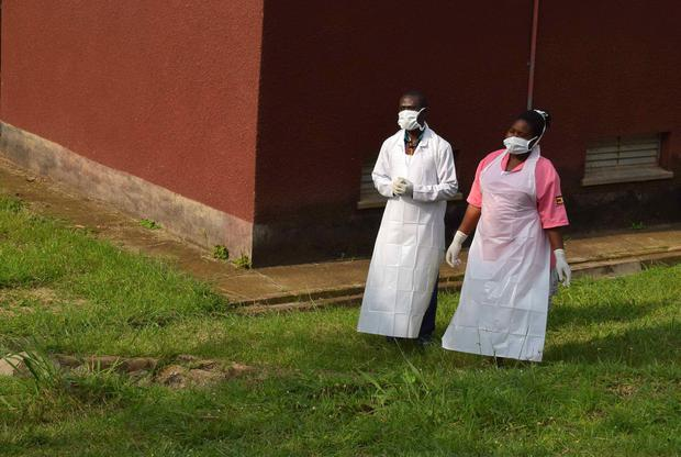 Ugandan medical staff are seen as they inspect the ebola preparedness facilities at the Bwera general hospital near the border with the Democratic Republic of Congo in Bwera, Uganda, June 12, 2019. REUTERS/Samuel Mambo