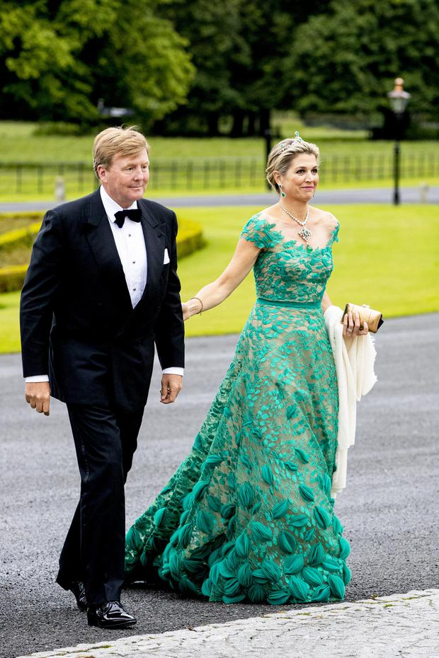 King Willem-Alexander of The Netherlands and Queen Maxima of The Netherlands during an official state banquet offered by President Michael Higgins of Ireland and his wife Sabrina Higgins at the Presidential Palace during day one of a three-day State visit to Ireland by the Dutch royals on June 12, 2019 in Dublin, Ireland. (Photo by Patrick van Katwijk/Getty Images)