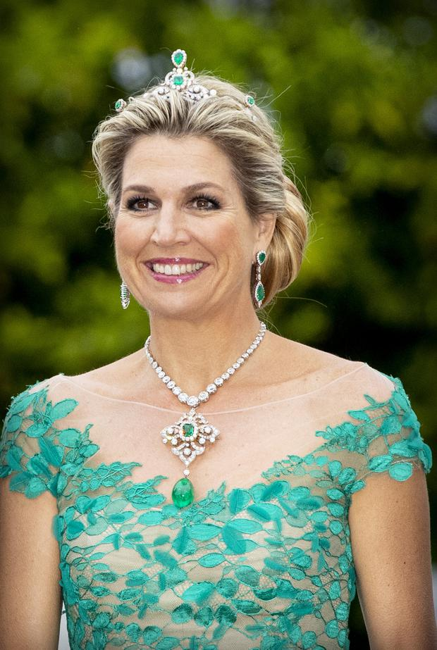 Queen Maxima of The Netherlands during an official state banquet offered by President Michael Higgins of Ireland and his wife Sabrina Higgins at the Presidential Palace during day one of a three-day State visit to Ireland by the Dutch royals on June 12, 2019 in Dublin, Ireland. (Photo by Patrick van Katwijk/Getty Images)