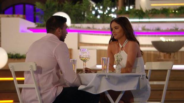 Maura Higgins and Tommy Fury on Love Island. PIC: ITV2