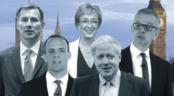 Tory tussle: Conservative Party grandees in the race for the leadership post include (l-r) Dominic Raab, Jeremy Hunt, Boris Johnson and Michael Gove. But Andrea Leadsom (Centre) has been eliminated