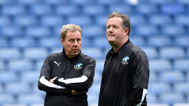 Soccer Aid World XI co-managers Harry Redknapp and Piers Morgan (Dominic Lipinski/PA)