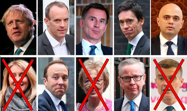 Candidates: (left to right, top row) Boris Johnson, Dominic Raab, Jeremy Hunt, Rory Stewart, Sajid Javid, (bottom row) Esther McVey, Matt Hancock, Andrea Leadsom, Michael Gove and Mark Harper. Ms McVey, Ms Leadsom and Mr Harper were eliminated yesterday. Photo: PA