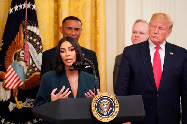 Reform: Kim Kardashian speaks as US President Donald Trump holds an event on second chance hiring and justice reform in the White House. Photo: Mandel Ngan/AFP/Getty Images