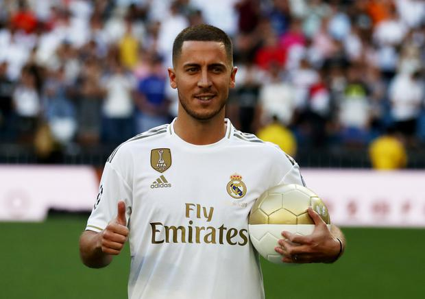Eden Hazard is presented to Real Madrid supporters. Photo: Reuters