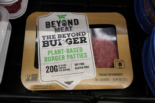 A Beyond Meat Burger is seen on display at a store in Port Washington, New York, U.S., June 3, 2019. Picture taken June 3, 2019. REUTERS/Shannon Stapleton