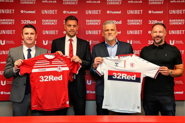 Handout photo dated 14/06/2019 provided by Middlesbrough FC of Robbie Keane, Jonathan Woodgate (Head Coach), Leo Percovich and Danny Coyne during a photocall. Tom Banks/MFC/PA Wire.