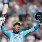 England's Joe Root celebrates a century. Action Images via Reuters/Paul Childs