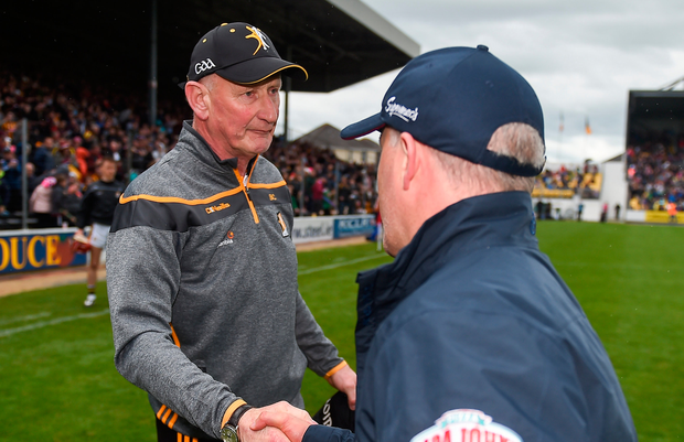 Kilkenny manager Brian Cody shakes hands with Galway manager Mícheál Donoghue after the Leinster GAA Hurling Senior Championship Round 4 match between Kilkenny and Galway at Nowlan Park in Kilkenny. Photo by Daire Brennan/Sportsfile