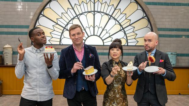 Judges Cherish Finden and Benoit Blin with presenters Liam Charles and Tom Allen (Channel 4/PA)