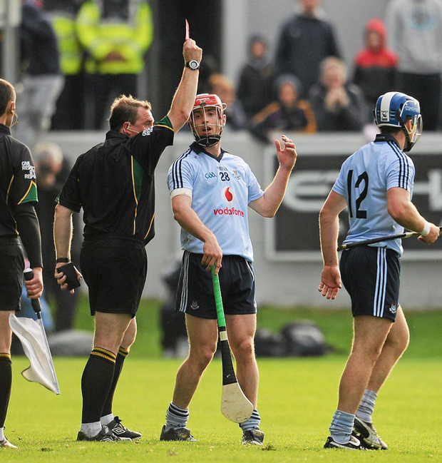 RED-LETTER DAY: Ryan O'Dwyer is sent off against Galway in the Leinster SHC semi-final in 2011 which began a fierce rivalry with the Tribesmen. Photo: Ray McManus/Sportsfile