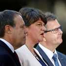 Blaming us: Nigel Dodds, Arlene Foster and Jeffrey Donaldson of the DUP. Photo: REUTERS/Stefan Wermuth/File Photo