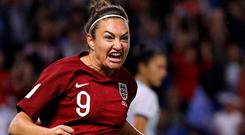 England's Jodie Taylor celebrates scoring their first goal. Photo: Phil Noble/Reuters
