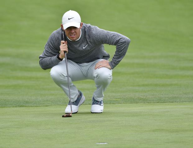 Rory McIlroy lines up a putt on the 3rd green during the second round of the 2019 U.S. Open golf tournament Photo: Orlando Ramirez-USA TODAY Sports