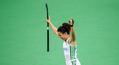 Anna O'Flanagan of Ireland celebrates after scoring her side's fourth goal during the FIH World Hockey Series semi-finals match between Ireland and Czech Republic at Banbridge Hockey Club in Banbridge, Down. Photo by Eóin Noonan/Sportsfile