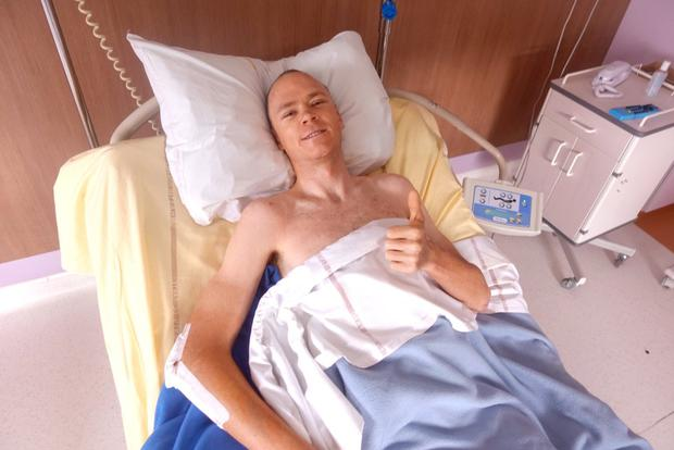 Chris Froome recovering in hospital after a bike crash.