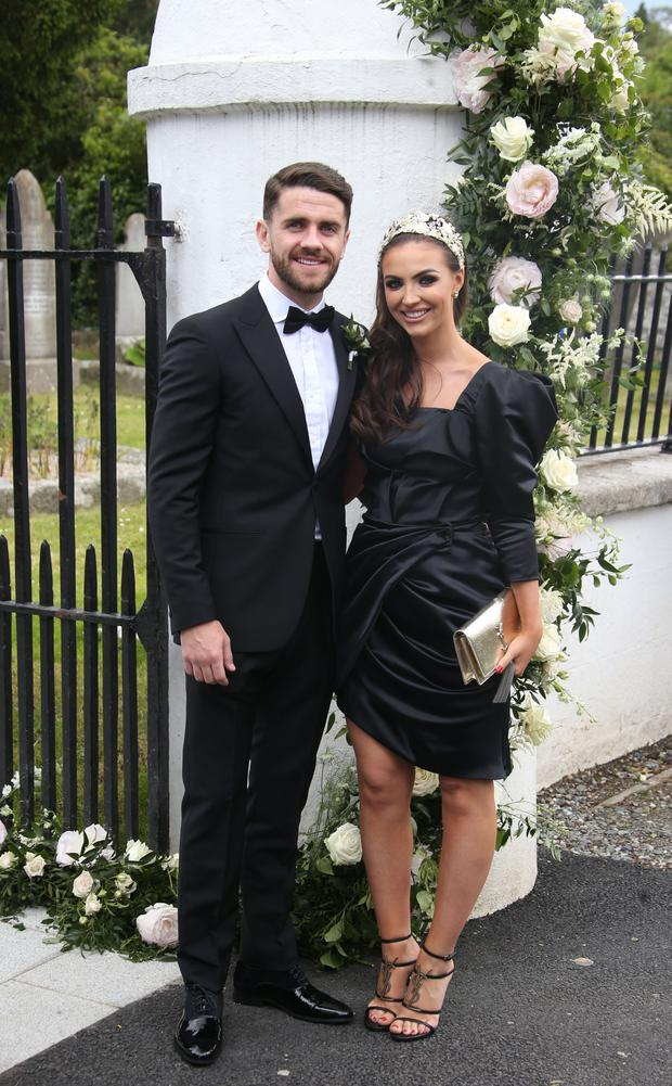 Robbie Brady and wife Kerrie Harris at Paul McShane and Gemma Shreeves Wicklow wedding. Picture: Stephen Collins/Collins Photos