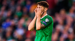 Robbie Brady can't bear to look after a missed opportunity against Gibraltar on Monday night. Photo: Sportsfile