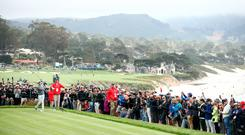 Rory McIlroy on the 14th tee at Pebble Beach. Photo: Ezra Shaw
