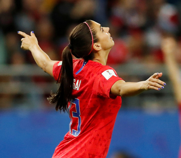 US star Alex Morgan came under fire for her exuberant celebrations against a hapless Thailand outfit. Photo: REUTERS/Christian Hartmann