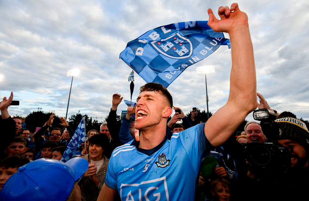 Chris Crummey celebrates Dublin's victory over Galway at Parnell Park last night. Photo: Ramsey Cardy
