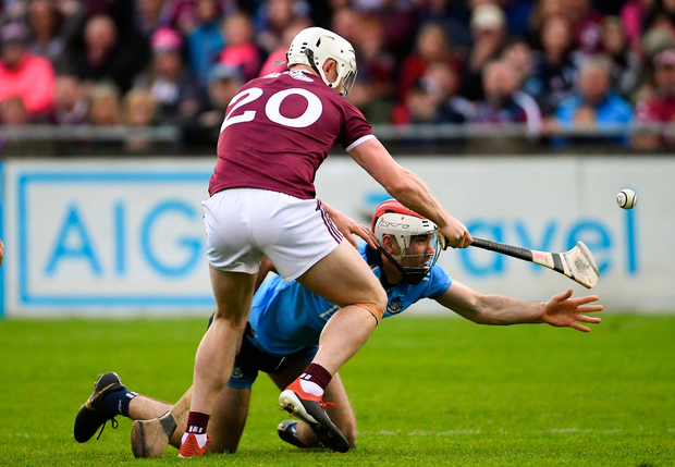 Dublin's Paddy Smyth in action against Joe Canning of Galway. Photo: Ramsey Cardy/Sportsfile
