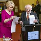 DEMOCRACY: President Michael D Higgins and his wife Sabina voting in the recent local and European elections. Picture: Kyran O'Brien