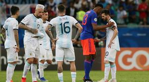 Argentina's Lionel Messi and Colombia's Yerry Mina after the Copa America Group B clash at Arena Fonte Nova, Salvador, Brazil. Photo: REUTERS/Edgard Garrido