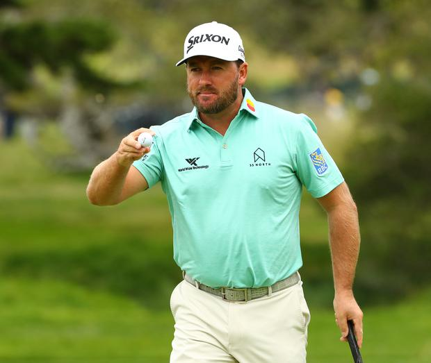 Graeme McDowell after putting on the second green during the third round of the 2019 US Open golf tournament at Pebble Beach Golf Links.