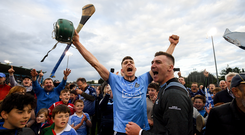 Chris Crummey of Dublin celebrates following the Leinster GAA Hurling Senior Championship Round 5 match between Dublin and Galway at Parnell Park in Dublin. Photo by Ramsey Cardy/Sportsfile